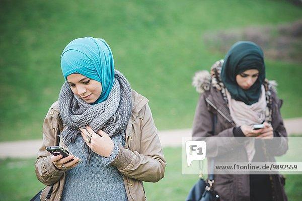 Zwei Freundinnen im Park beim Lesen von Texten auf Smartphones
