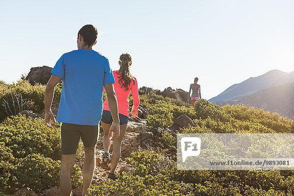 Rückansicht von drei erwachsenen Trail Running-Freunden auf dem Pacific Crest Trail Dirt Track  Pine Valley  Kalifornien  USA