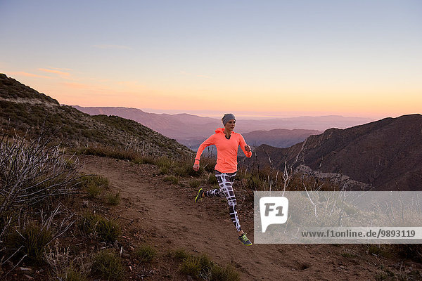 Rückansicht des Trails der jungen Frau  der in der Abenddämmerung auf dem Pacific Crest Trail  Pine Valley  Kalifornien  USA  hinunterläuft.