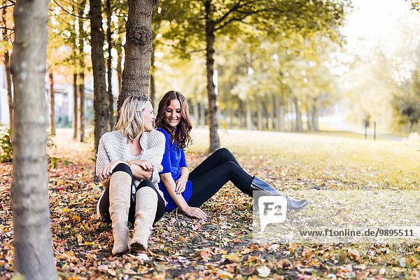 Zwei Freundinnen  die sich auf einen Baumstamm stützen.