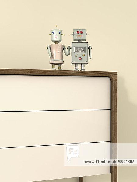 Männlicher und weiblicher Roboter auf Sideboard  3D-Rendering