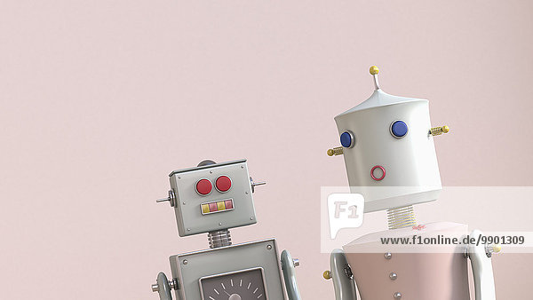 Männlicher und weiblicher Roboter  3D-Rendering