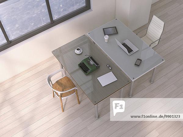 Zwei Tische mit unterschiedlicher Ausstattung  3D Rendering