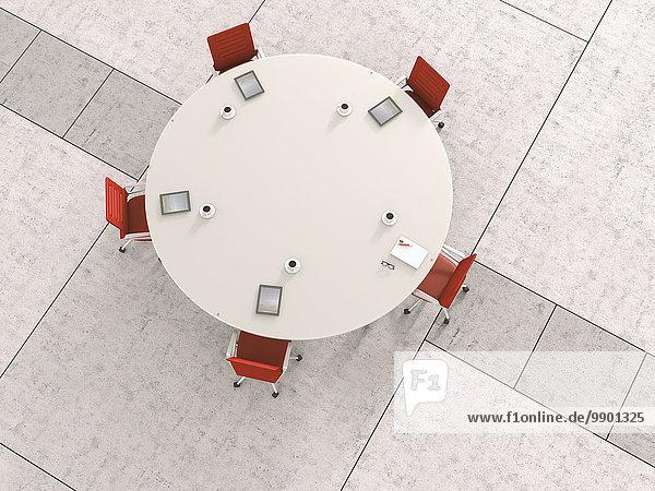 Blick auf den runden Konferenztisch von oben  3D-Rendering