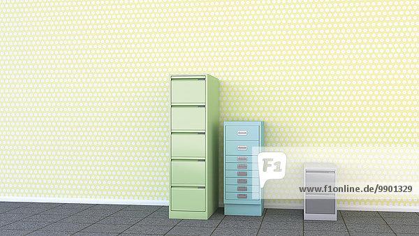 Drei verschiedene Schubladenschränke vor gelber Tapete  3D-Rendering