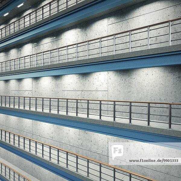 Beleuchtete Böden einer Industriehalle  3D-Rendering