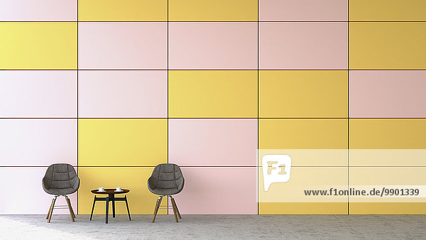 Wartebereich mit zwei Stühlen und einem Beistelltisch vor farbiger Wand  3D-Rendering