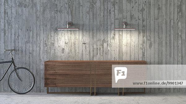 Altmodisches Sideboard in modernem Ambiente  3D-Rendering
