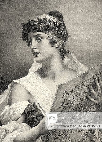 A young woman with a sheet of music  singing  ca. 1900  after Kiesel