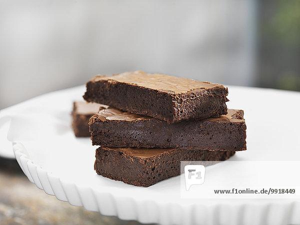 Studioaufnahme Schokolade Stapel Kuchenplatte
