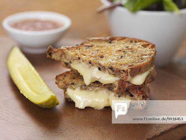Studioaufnahme Käse Sandwich Brie gegrillt Ketchup