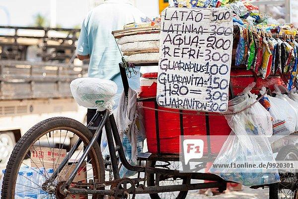 Tricycle souvenir stall  Copacabana  Rio De Janeiro  Brazil