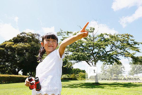 Großstadt Fernglas jung Mädchen japanisch