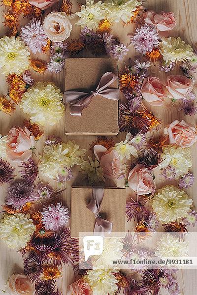 Geschenk Blume Verpackung Close-up umwickelt
