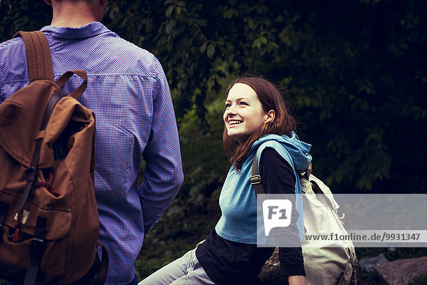 Außenaufnahme Europäer lächeln freie Natur