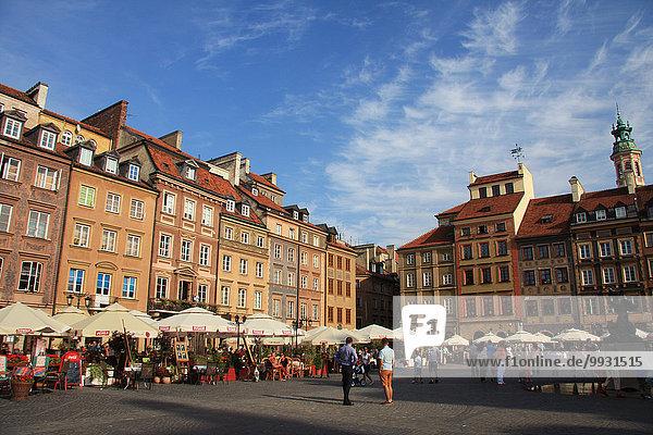 Warschau Hauptstadt Europa Wohnhaus Gebäude Fassade Hausfassade Altstadt UNESCO-Welterbe Marktplatz Polen Rynek Starego Miasta