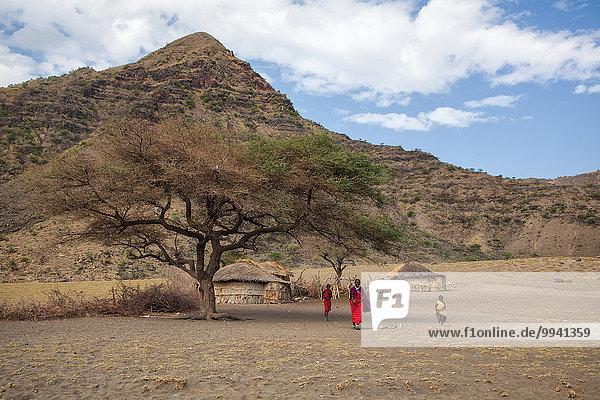 Ostafrika Landschaftlich schön landschaftlich reizvoll Berg Mensch Menschen Wohnhaus Baum Landschaft Gebäude Reise Dorf Rift Valley Kenia Spalt Afrika Tansania