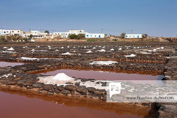 Europa Küste Kanaren Kanarische Inseln Lanzarote Saline Speisesalz Salz Spanien