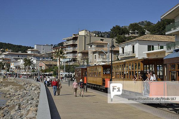 Historic tramway in Puerto de Sóller  Majorca  Balearic Islands  Spain  Europe