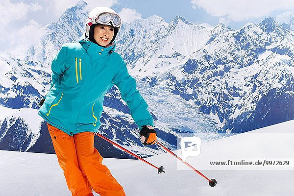 Frau fährt Ski
