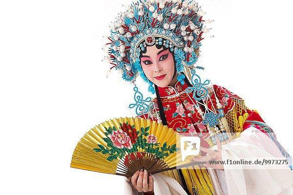 Female Peking Opera performer with a folding fan