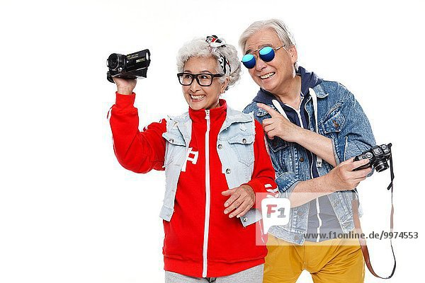 Among the elderly take pictures with the camera
