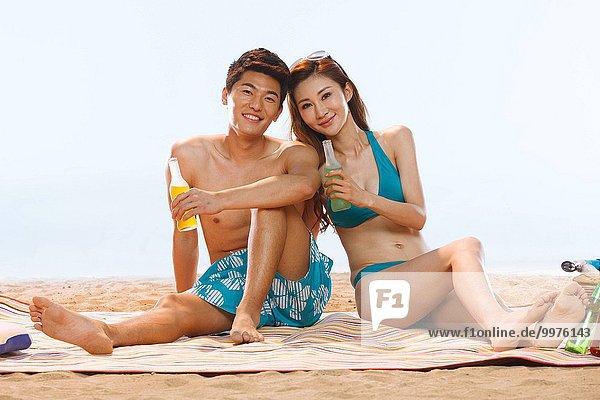 Strand Getränk trinken Romantik