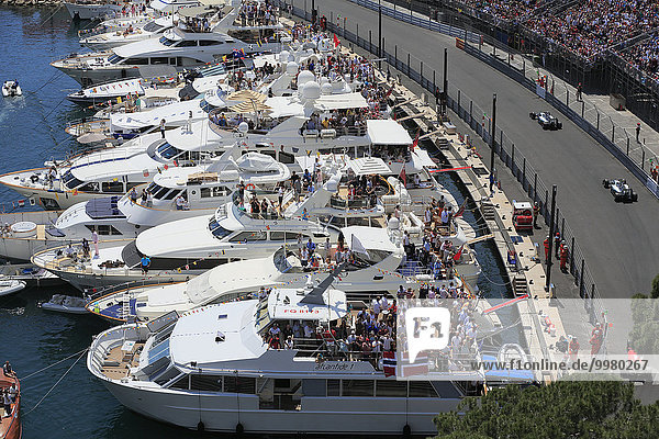 Viewers on yachts in Port Hercule at the track  Formula 1 Grand Prix Monaco 2015  Principality of Monaco