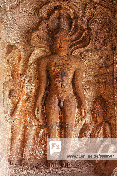 Relief of Jain Tirthankaras in the cave no. 4  cave temples of Badami  Karnataka  India  Asia