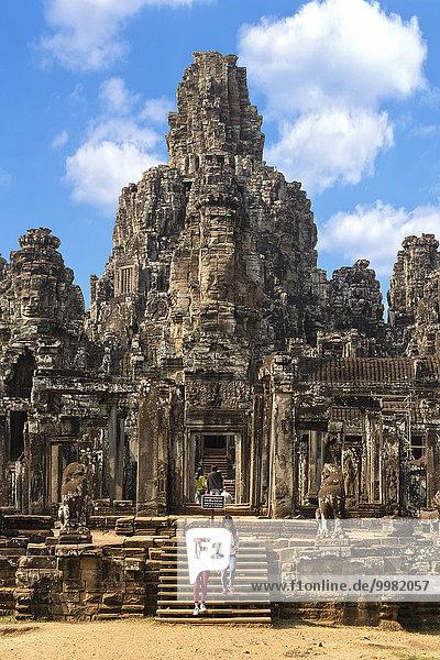 South entrance of the Bayon Temple  Gopuram  Angkor Thom  Siem Reap  Cambodia  Asia