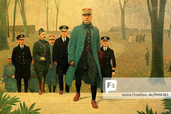 Marshal Foch and his staff  Major  France  Louis-Ferdinand Malespina  Oil on canvas  The Museum of the Great War  Meaux.