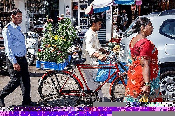 Frau Mann Blume Bluse Damm Fahrrad Rad Bombay bringen Indien Markt
