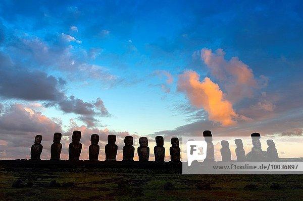 Ahu Tongariki at sunset  Rapa Nui National Park  Easter Island  Chile  Unesco World Heritage.