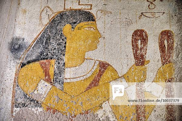 Wandmalerei von Königin Qalhata in ihrem Grab  el-Kurru  asch-Schamaliyya  Nubien  Sudan  Afrika