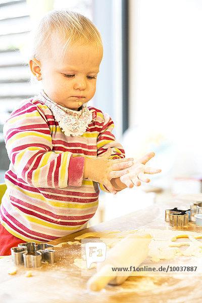 Kleinkind  zwei Jahre  beim Plätzchen backen in der Weihnachtszeit