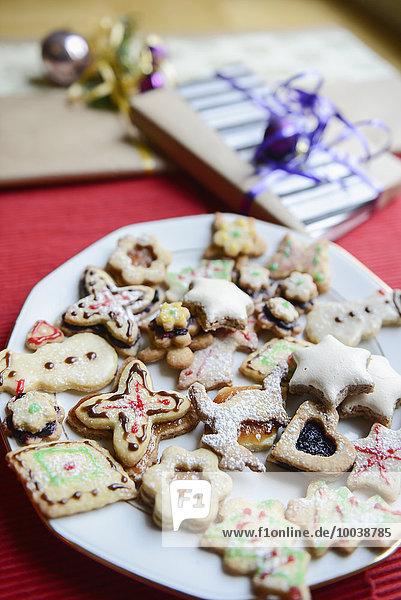 Christmas homemade gingerbread cookies in plate  Bavaria  Germany