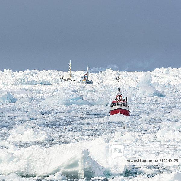 Boot Meer gefroren