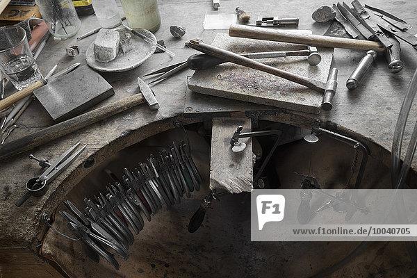 Work tools on workbench in workshop  Bavaria  Germany Work tools on workbench in workshop, Bavaria, Germany