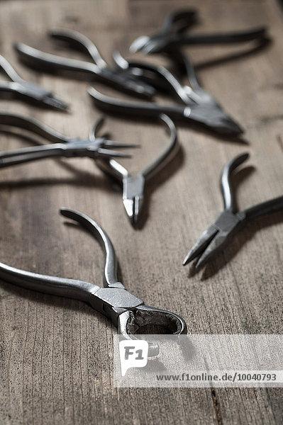 Various pliers in workshop  Bavaria  Germany Various pliers in workshop, Bavaria, Germany