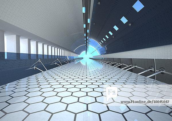 Fußgängerbrücke im Tunnel  3D-Rendering