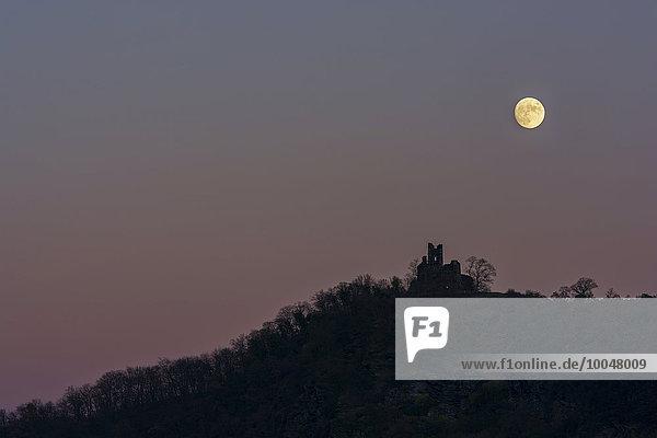 Deutschland  Rheinland-Pfalz  Burgruine Wolf bei Vollmond