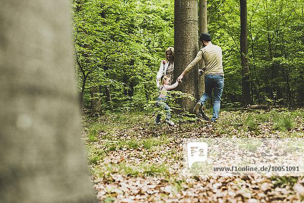 Familie im Wald läuft um den Baumstamm herum
