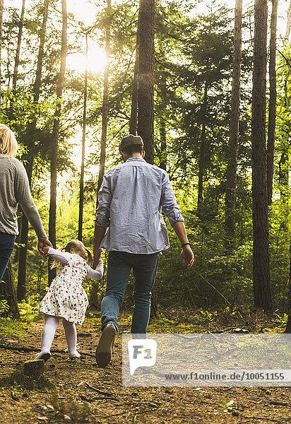 Familienwanderung im Wald