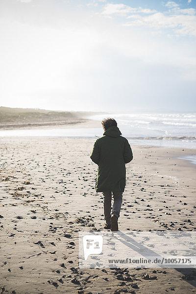 Rear view of man strolling on windy beach  Sorso  Sassari  Sardinia  Italy