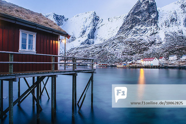 Traditional fishing hut on stilts  Reine  Lofoten  Norway