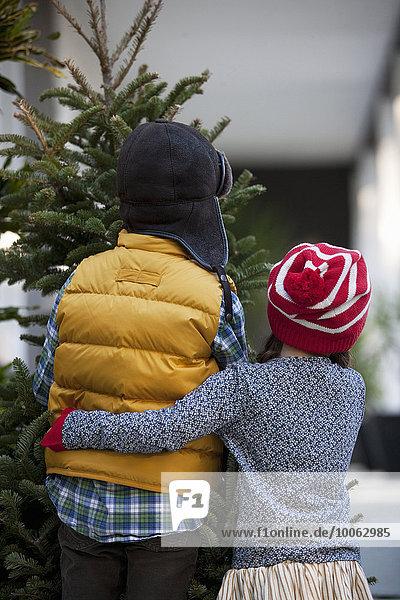 Mädchen und Junge mit Weihnachtsbaum