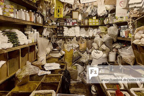 Basar in der Altstadt von Jerusalem mit Gewürzen  Bazar  Jerusalem  Israel  Asien