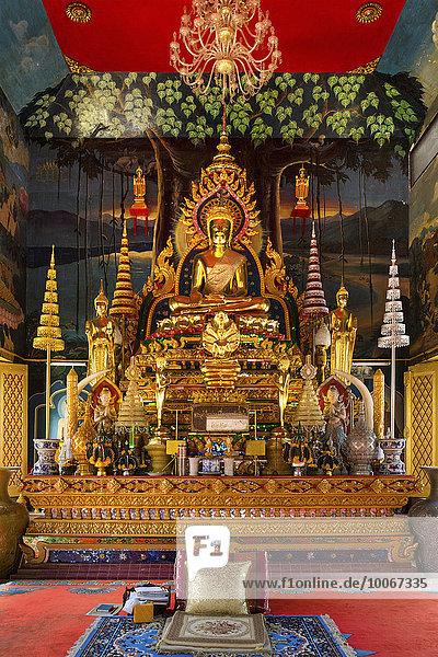 Buddhastatue im Wat Tai Phra Chao Yai Ong Tue Tempel  Ubon Ratchathani  Isan  Isaan  Thailand  Asien