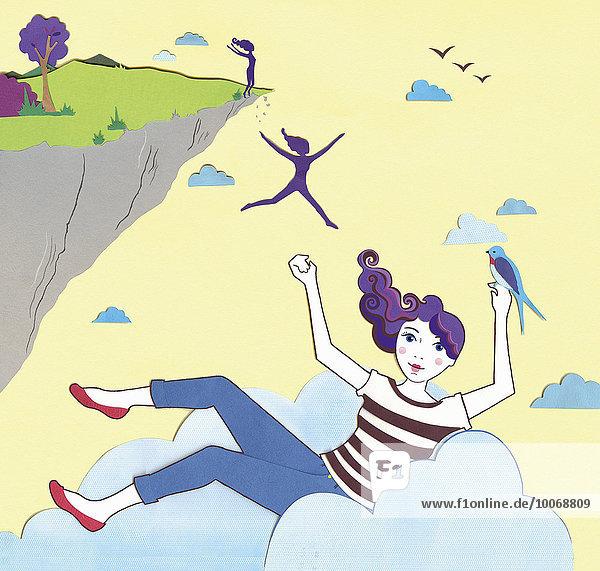 Frau springt von einer Klippe und landet in einer Wolke