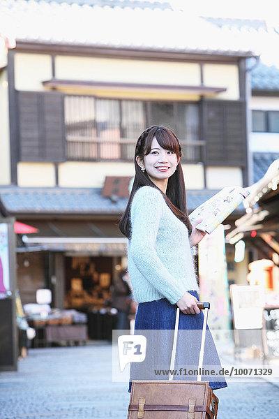 Young Japanese woman enjoying trip in Kawagoe  Japan
